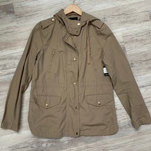 Love Tree Hooded Khaki Zip Utility Jacket Sz M